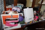 The BEFORE. This means I really love ya'll to let you see how this looked on a daily basis. I didn't even straighten it up. But everything is organized! Pink bag has blush/bronzer, purple bag has foundation/concealer/powder, etc.