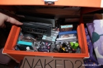 Inside the train case is mostly eyeshadows, liners, etc.