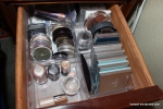 Second left drawer: Eyeshadow quads and singles