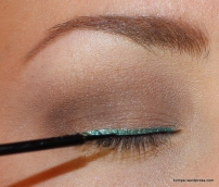 NYX Studio Liquid Liner in Extreme Black, on lash line, over Lagoon