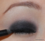 I used a super black, smudgy liner and lined all the way around my eye and waterlines.