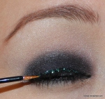 On top of the black liner on my upper lash line, I added iridescent glitter liner and lots of mascara!