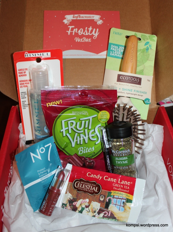 All the stuff I got in my Influenster Frosty VoxBox, definitely quite the mix.