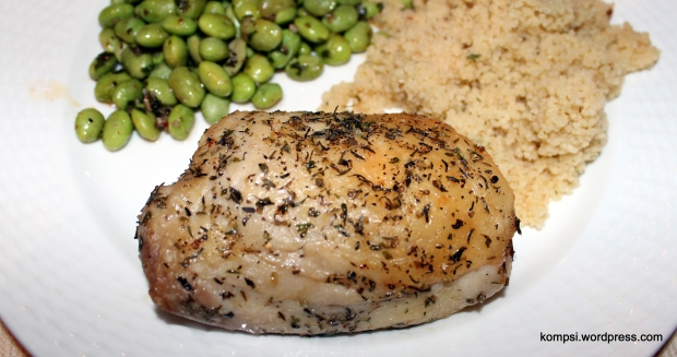 Chicken thigh! With edamame and cous-cous.