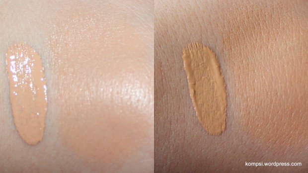 Two pics of the same swatch, with and without flash. Left is unblended, right is blended.