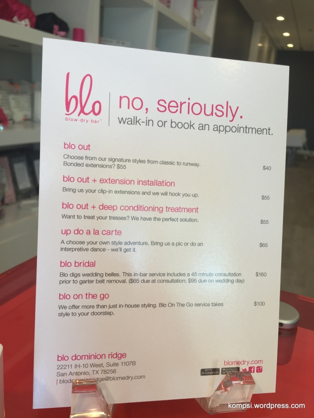 Menu of services at blo