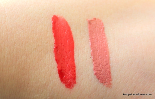 Swatches! Rebel Red on left, Nude Flush on right